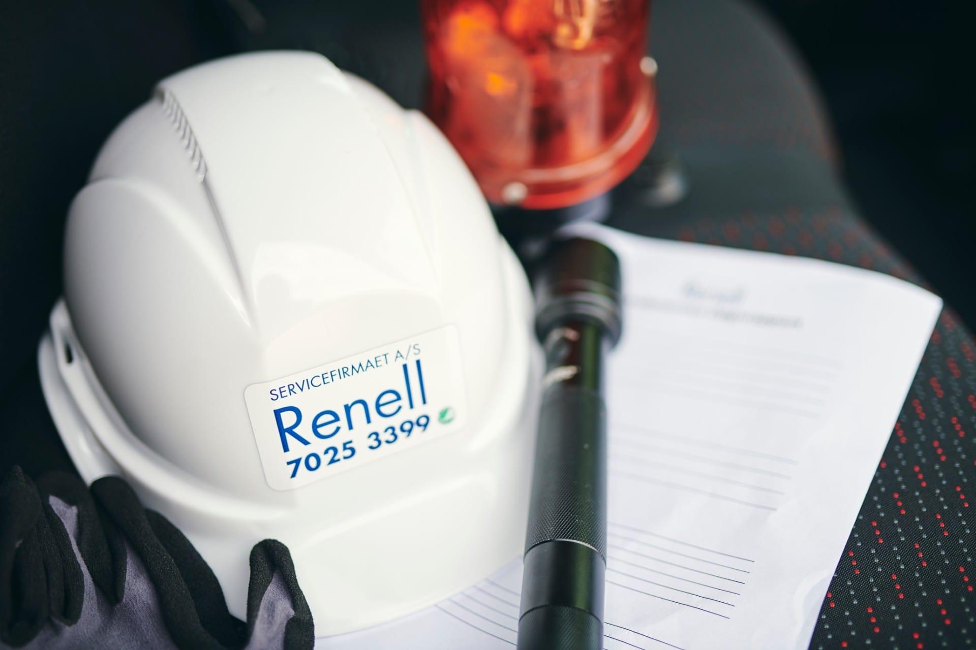 Renell - Skadeservice udstyr ligger klar til brug
